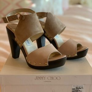Jimmy Choo leather/suede wooden heel sandals 39